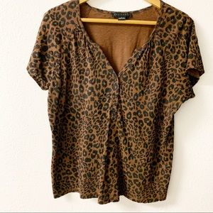Sanctuary Brown animal print short sleeve tee.
